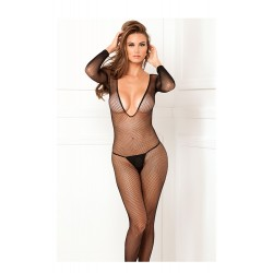 Ολόσωμο Καλσόν Deep-V longsleeve fishnet bodystocking