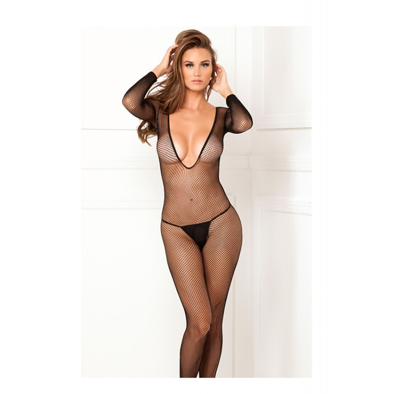 Deep-V longsleeve fishnet bodystocking | 017036494338 | Bodystockings