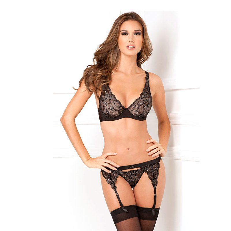 3pc lux lace lurex garter and thong set | 017036419935 | Suspender Sets