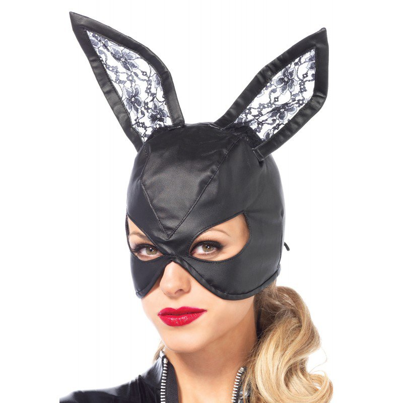 Artificial Leather Bunny Mask - Black | 714718511443 | Γυναικείες Μάσκες