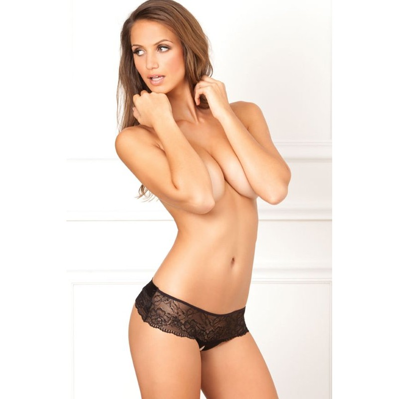 Cross Loos lace panties with large satin bow | 017036001635 | Thongs