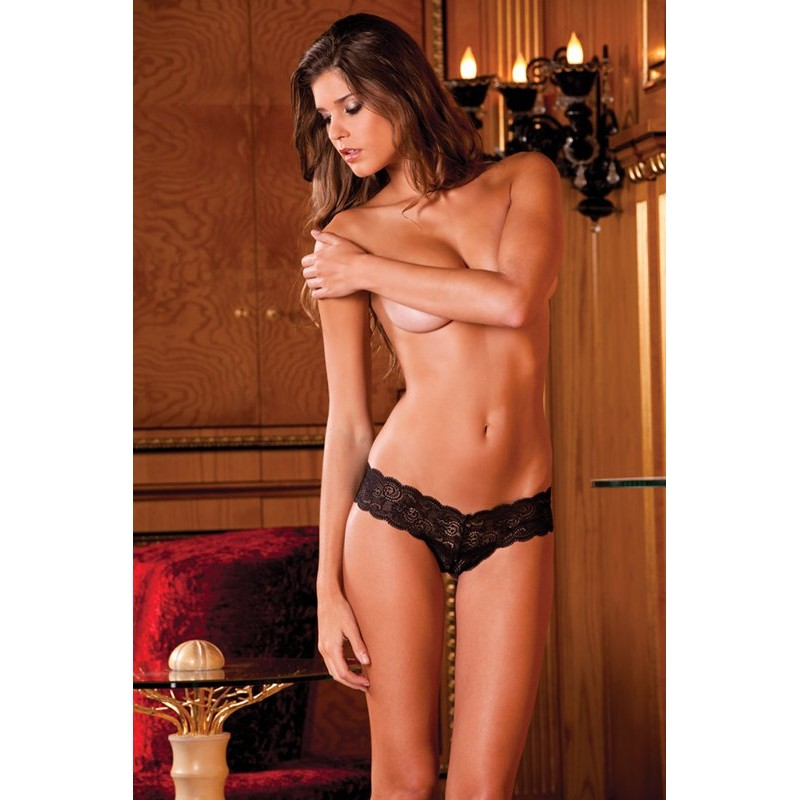 Crotchl. lace thong w. lace-up back | 017036918841 | Κιλοτάκια