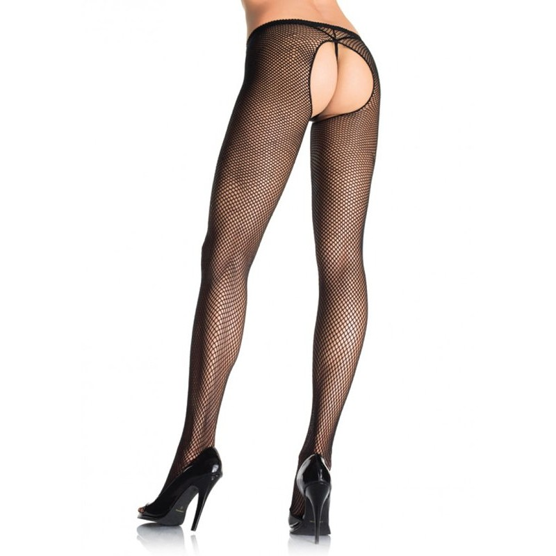 Crotchless Fishnet Pantyhose - Black | 714718072029 | Κάλτσες