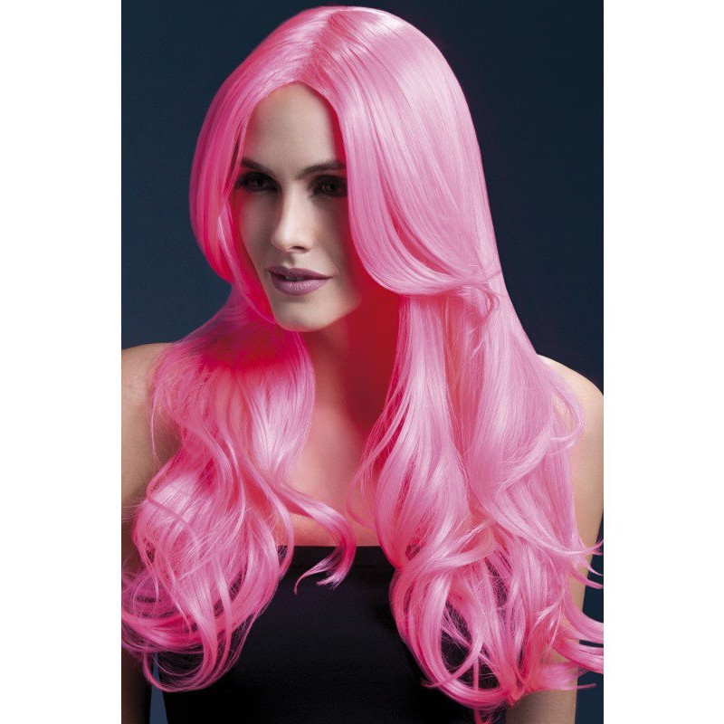 Fever Khloe Wig 26inch/66cm Neon Pink Long Wave with Centre Parting | 5020570425459 | Wigs