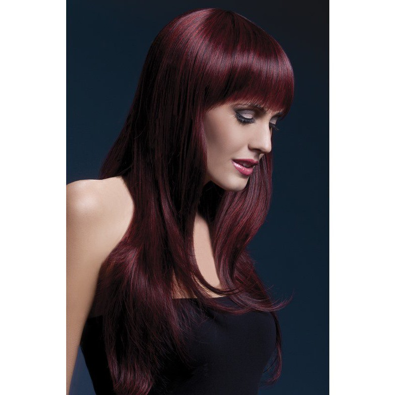 Fever Sienna Wig 26inch/66cm Black Cherry Long Feathered with Fringe | 5020570425497 | Περούκες