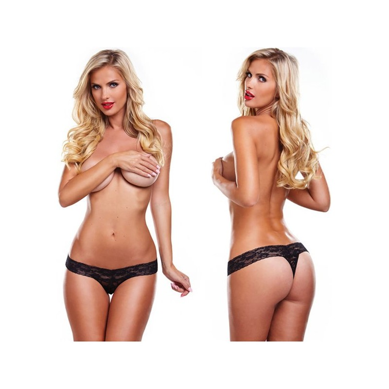 Lacy thong with bullet vibrator - Black | 726633976665 | Τάνγκα