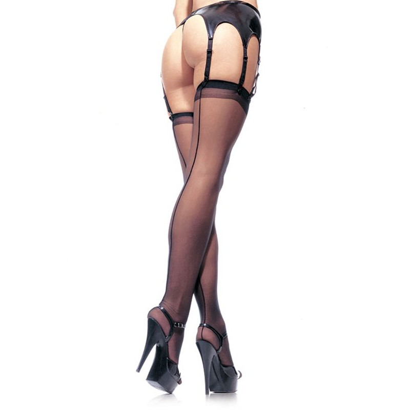 Sheer Backseam Stockings - Black | 714718001357 | Κάλτσες