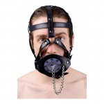 Plug It Up Leather Head Harness with Mouth Gag | 848518013118 | Ball Gags